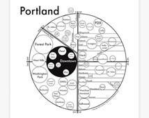 "Portland Map 8"" x 8"" Letterpress. Beautiful Minimalist Simple Graphic Neighborhood Art Print. Cool Travel Poster Design."