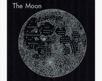Moon Map17.5x17.5 Screenprint Silver on Black Craters Map