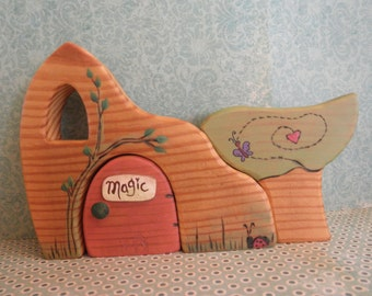 FALL SALE Wood Toy Set-Whimsical Habitat/Tree/Story Dice-Magic Portal-Pretend Play-Waldorf Inspired