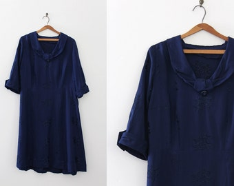 VOLUP vintage 1950s dress // 50s dark blue dress