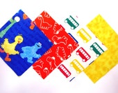 """48 Cotton Flannel 6""""x6"""" Quilt Square Rag Quilt Kit in Sesame Street, Dinosaurs, Tie Dye and a Primary Bus Print"""