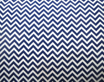 Flannel Fabric by the Yard in a Navy and White Tiny Chevron Print 1 Yard