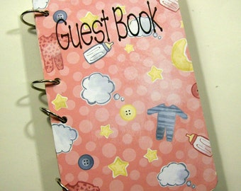 Baby Shower Guest Book, Sign in Book, New Mom Advice Book, Baby Girl Shower, Baby Pink
