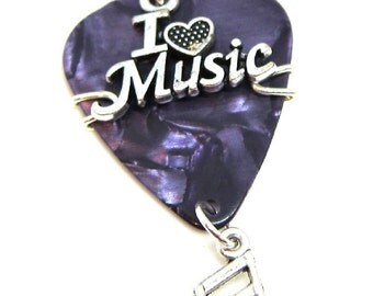 Guitar Pick Pendant - I Love Music with a music note dangle