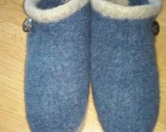 Blue Wool Slippers Women's 9-10