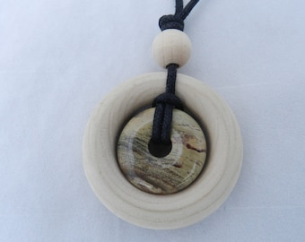 Small Nursing Necklace - Jasper Stone and Natural Wood