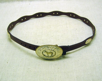Vintage Brown Leather Ladies Western Belt with Silver Horse Buckle