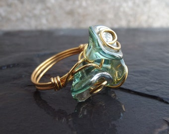 Flower Cluster Ring:  Aquamarine Ring, Large Bouquet Ring, Blue Green Glass Statement Ring, Gold Wire Wrapped Ring, Size 7