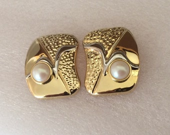 Large Abstract Gold and Faux Pearl Vintage Pierced Earrings