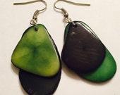 Green and Black Tagua Nut Earrings
