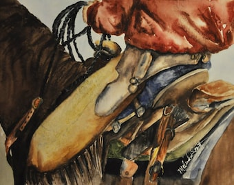 Cowboy painting - Original Watercolor painting cowboy in chaps, western art, ranch art, original watercolor on paper
