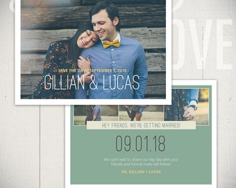 Save The Date Card Template: Adored Card A - 5x7 Engagement Card Template