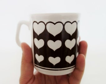 Vintage Brown Hearts Grindley of Stoke Mug Made in England