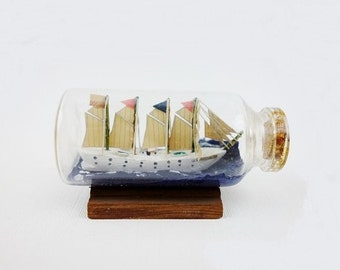 Vintage Esmeralda Sailing Ship in a Bottle Small Size
