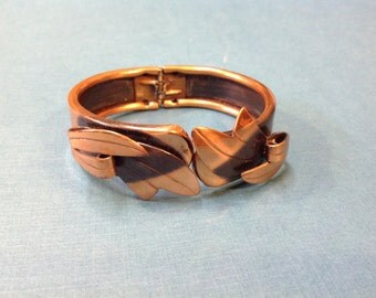 Copper Snap Cuff Bracelet Leaf Design
