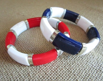 Red, White, Blue and Silver Elasticized Bracelets