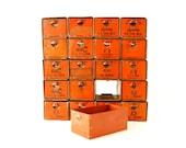 Vintage Dorman Parts Drawer Hardware Bin with 20 Drawers in Rustic Orange (c.1950s) - Industrial Storage, Urban Loft Decor