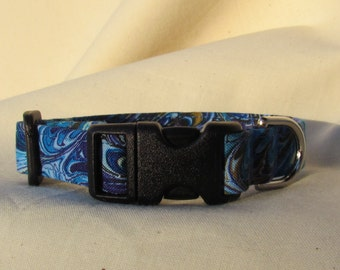 Fabric Dog Collar -shades of blue swirls -  EXTRA SMALL