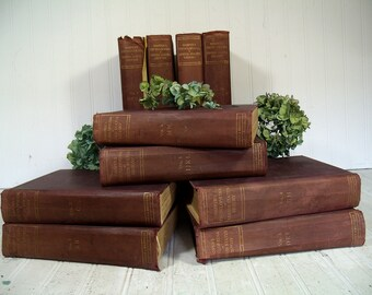 Antique Complete Set Harper's Encyclopedia of United States History from 458 A.D. to 1909 - Maroon with Gold Lettering Books Decor or Props