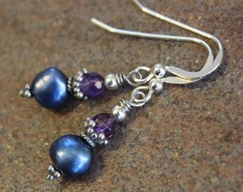 Blue Freshwater Pearl and Amethyst Earrings,  Pearl Earrings,  Gemstone Earrings, Handcrafted, Handmade, Artisan, Bali Sterling Silver, Gift