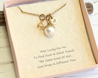 Personalized Gold Acorn Necklace with Friendship Sentiment Card