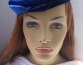 Woman's Beret, Blue Beret, Velvet Beret, Embroidered Beret, Blue Velvet beret