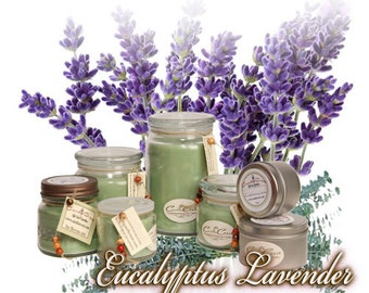 Eucalyptus Lavender Scented Soy Candles -  Relaxing Candle Fragrance