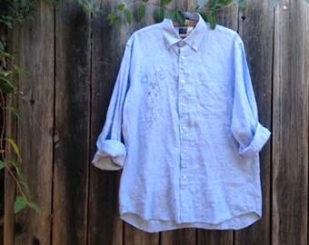 Custom EXAMPLE made to order soft gray blue linen work wear LOVE garden embroidered cook prairie chef artist potter ooak  farm rustic shirt