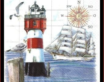 Lighthouse Paper Decoupage Napkins - Tissue Paper, Decoupage Paper, lot of four pieces