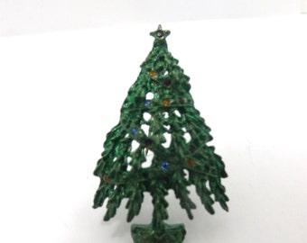 Christmas tree brooch pin, rhinestones, dark green