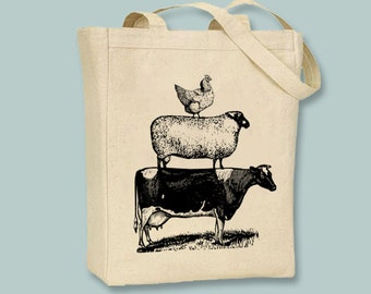 Stack of Vintage Farm Animals Illustration on Canvas Tote -- Selection of sizes available