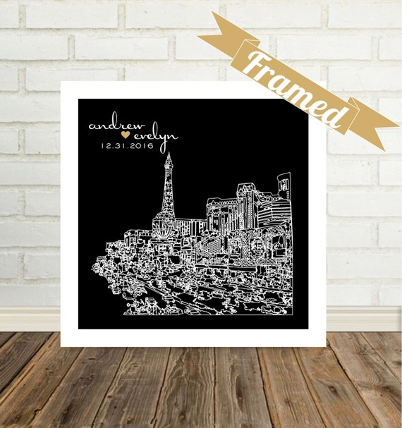Engagement Gifts for Couple City Skyline Print FRAMED ART Any City Available Unique Engagement Gift Newly Engaged Gift Just Engaged Gift