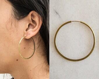 Handmade hammered brass 2 inch circular hoops