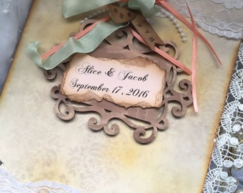 Vintage Inspired Wedding Guest book sign in book