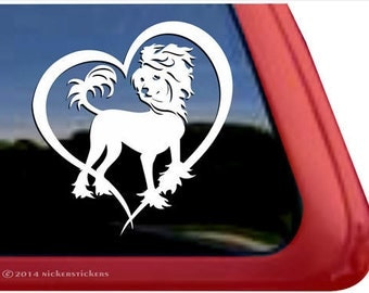 Chinese Crested Love | DC852HRT | High Quality Adhesive Vinyl Window Decal Sticker