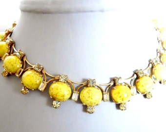 Kramer necklace braclet and clip earring set in yellow with gold Vintage rhinestone necklace set  signed costume jewelry cocktail party chic