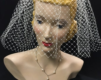 Short Vintage French Net Veil on Comb with Blusher