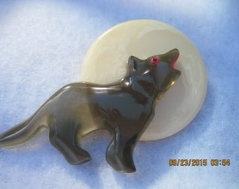 Vintage BEAUTIFUL Hand Carved BAKELITE Wolf Howling at Moon Brooch...designer signed..#8164.. Holiday,Special,Everyday,Office or Play..