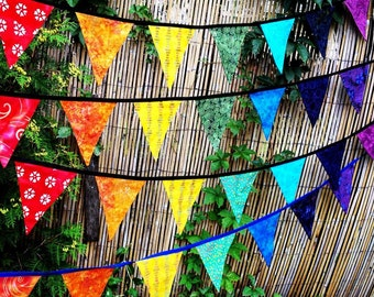 Chakra Prayer Flags Batik Bunting Garland Banner Rainbow