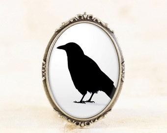 Bronze Crow Brooch - Black Bird Silhouette Brooch, Gothic Crow Jewelry Pin, Black White Jewelry, Crow Silhouette Jewelry Broach, Crow Gift
