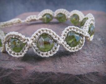 Bohemian Crochet Bracelet - Peridot Green, Boho Beaded Bracelet, Adjustable Bracelet