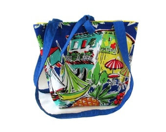 Vacation Purse, Small Tote Bag, Cloth Purse, Handmade Handbag, Blue, Yellow, Travel, Boat, Cafe, Shoulder Bag, Teen Purse