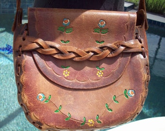Genuine Hard Leather 1960's Spring Flower Saddledbag
