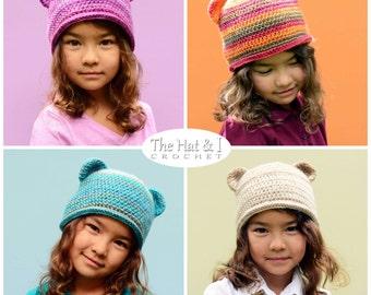 CROCHET PATTERN - Boutique Bear Beanie - colorful crochet bear hat pattern crochet hat pattern (Infant - Adult sizes) - Instant PDF Download