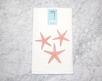 Starfish Flour Sack Towel - Cotton Dish Towel - Screen Printed Tea Towel - Beach Decor