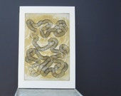 SALE . Etching . Black White + Yellow Ochre: Nowhere Fast 1. Unframed
