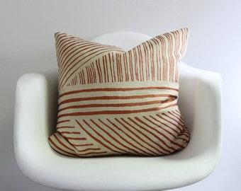 "Karnataka 20x20"" pillow cover hand printed in metallic copper on natural ecru organic hemp"