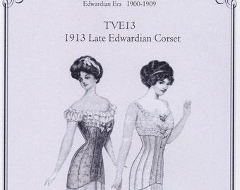 TE13 - Truly Victorian #E13, 1913 Late Edwardian Corset Sewing Pattern