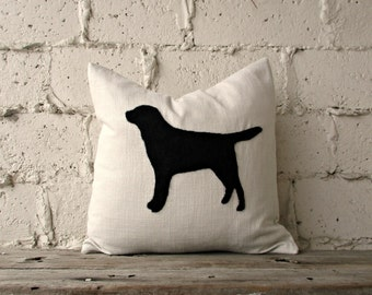 Black Lab Pillow, Felt Silhouette Pillow, Personalized Pillow Cover, Felt Roving Dog by viAnneli, Customized, Made to Order, Chocolate Lab