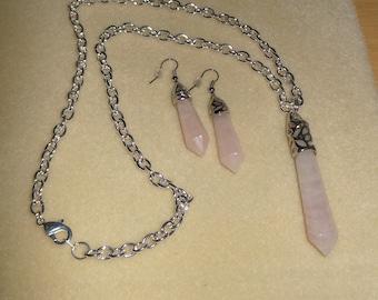 Rose Quartz points/Genuine rose quartz point pendant with neckchain and earrings/Rose quartz necklace and earrings/womens rose quartz set